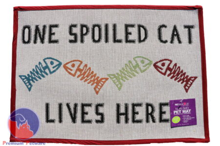 "TAPESTRY PLACEMAT  - ""ONE SPOILED CAT LIVES HERE"""