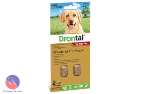 DRONTAL CHEWABLE WORMING TABLETS FOR LARGE DOGS - 35kg