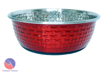 DURAPET EMBOSSED STAINLESS STEEL BOWLS - RED BONES