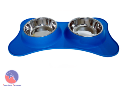 DOUBLE DINER BOWLS - STAINLESS STEEL WITH SILICON BASE