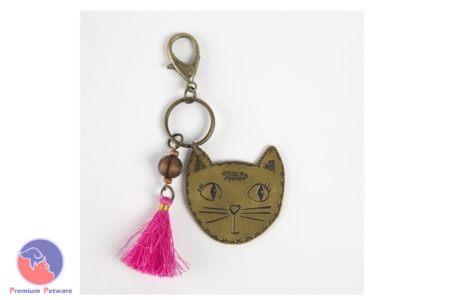 NATURAL LIFE BRASS TOKEN KEYCHAIN FLOWER CAT