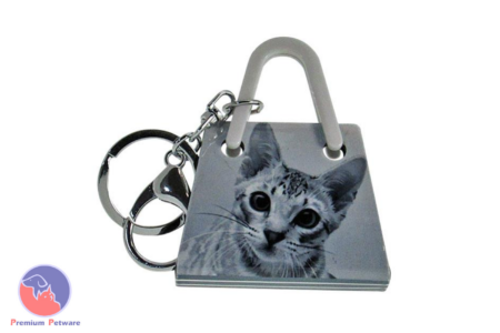 KEYRING - ACRYLIC CAT HANDBAG GREY