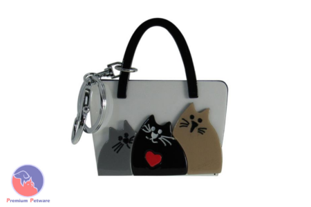 KEYRING - ACRYLIC CAT HANDBAG WHITE