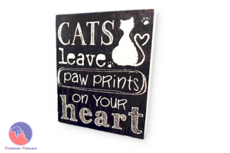 "WORD ART PICTURE - ""CATS LEAVE PAW PRINTS ON YOUR HEART"""