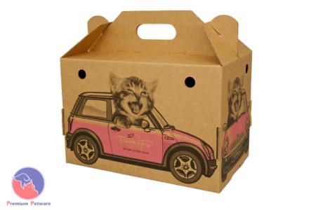 TROUBLE & TRIX CARDBOARD CAT CARRIER BOX