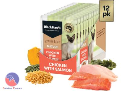 BLACK HAWK ADULT MATURE GRAIN FREE CAT WET FOOD POUCHES - CHICKEN / SALMON